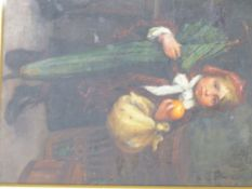 JOHN HENRY HENSHALL (1856-1928) THE GREEN UMBRELLA, OIL ON CANVAS. 25 x 19.5cms.