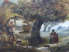 19th.C. ENGLISH SCHOOL TWO RURAL VIEWS WITH FIGURES, OIL ON CANVAS. 31 x 41cms.