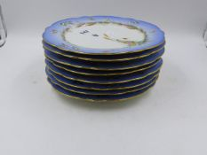 A SET OF EIGHT CONTINENTAL PORCELAIN PLATES WITH PALE BLUE BORDERS HAND PAINTED WITH BIRDS. D.22cms.