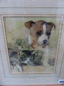 MARGARET THEYRE (1897-1977) A PUPPY AND KITTENS, WATERCOLOUR AND A STUDY OF A DOG BY ANOTHER