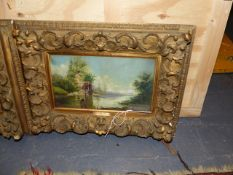 19th.C. CONTINENTAL SCHOOL A PAIR OF LANDSCAPES A WINTER AND SUMMER RIVER SCENE, BOTH SIGNED SEIDEL