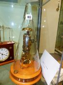 A HERMLE EIGHT DAY SKELETON CLOCK WITH CONICAL GLASS DOME COVER.