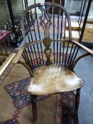 A SET OF FIVE 19th.C STYLE.YEW WOOD AND ASH WINDSOR ARMCHAIRS WITH SADDLE SEATS AND CRINOLINE STRE