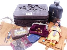 A BLACK FOREST CARVED BOX TOGETHER WITH A NORTH AMERICAN DOLL AND VARIOUS VINTAGE POUCHES AND