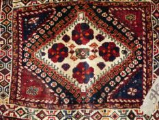 TWO ANTIQUE PERSIAN BAG FACES. LARGEST 71 x 63cms. (2)