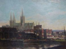 ANDREW AFFLECK (1875-1936) A CATHEDRAL VIEW SIGNED OIL ON CANVAS LANDSCAPE SCENE VERSO. 61 x 77cms.