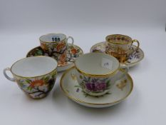 A 19th.C. NEWHALL COFFEE CAN AND SAUCER DECORATED WITH A TRAILING VINE, A MATCHING TEACUP WITH