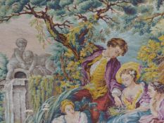 A TAPESTRY HANGING IN THE 18th.C.FRENCH STYLE. 156 x 143cms.