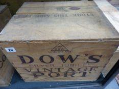 PORT, DOWS SILVER JUBILEE 1977 VINTAGE TWELVE BOTTLES, CASED.