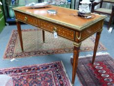 A GOOD QUALITY LOUIS XVI STYLE GILT BRASS MOUNTED TWO DRAWER LIBRARY TABLE WITH INLAID DECORATION