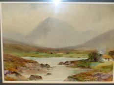 WILLIAM B McGUINNESS R.H.A. (1849-1928) AN IRISH LANDSCAPE SIGNED WATERCOLOUR. 25x 35cms.