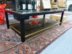 A GOOD QUALITY ART DECO STYLE GLASS TOP TWO TIER COFFEE TABLE. THE TOP 125 x 65cms, H.41cms.