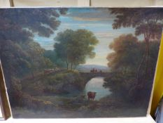 EARLY 19th.C. ENGLISH SCHOOL A WOODED RIVERSCAPE WITH CATTLE, OIL ON CANVAS. 47 x 62cms. UNFRAMED.
