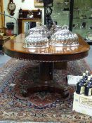 A GOOD 19th.C.MAHOGANY EXTENDING DINING TABLE WITH TWO LEAVES ON SPLIT PEDESTAL SUPPORTS. W.129 x