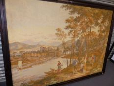 A LARGE CONTINENTAL FRAMED TAPESTRY OF AN ITALIANATE RIVER SCENE. OVERALL 150 x 200cms.