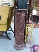 A GOOD ANTIQUE SCAGLIOLA MARBLE COLUMN. H.102cms D.28cms.