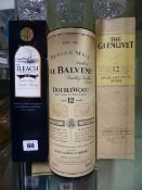 WHISKEY, THREE BOTTLES OF WHISKEY TO INCLUDE THE BALVENIE, THE ILEACH AND THE GLENLIVET.