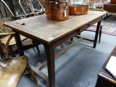 AN 18th.C.AND LATER OAK REFECTORY TABLE, THE TOP 151 x 75 x H.74cms.