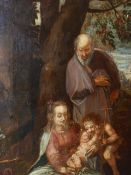 OLD MASTER SCHOOL THE HOLY FAMILY OIL ON CANVAS. 163 x 124cms. UNFRAMED.
