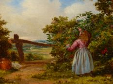 19th.C. ENGLISH SCHOOL BERRY PICKING, OIL ON CANVAS. 30 x 41cms.