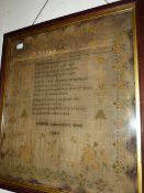 A VICTORIAN NEEDLEWORK VERSE SAMPLER BY ADELAIDE LANCASTER 1844. 44 x 40cms.