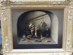 OLD MASTER SCHOOL STILL LIFE OF GAME BIRDS AND A HARE IN A LARDER, OIL ON CANVAS. 52 x 61cms.