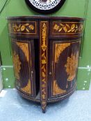 A 19th.C.DUTCH MARQUETRY INLAID DEMI LUNE SIDE CABINET WITH TAMBOUR DOORS. W.66 x H.75cms.