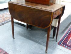 *****LOT WITHDRAWN*******A LATE GEORGIAN MAHOGANY AND INLAID PEMBROKE TABLE. THE TOP 80 x 99 cms