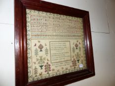 A VICTORIAN NEEDLEWORK VERSE AND ALPHABET SAMPLER BY MARY ANNE HOBLEY 1840, POSSIBLY AMERICAN. 29
