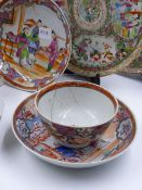 A COLLECTION OF ORIENTAL EXPORT WARES TO INCLUDE CHINESE FAMILLE ROSE TEA BOWLS AND SAUCERS