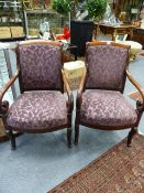 A PAIR OF FRENCH LOUIS PHILIPPE MAHOGANY SHOW FRAME ARMCHAIRS.