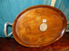 AN EARLY 20th.C.WALNUT DRINKS TRAY WITH CONTINENTAL SILVER MOUNTS.