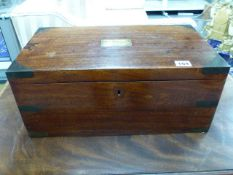 AN EARLY 19th.C.MAHOGANY WRITING BOX WITH INSET BRASS CORNERS, RECESSED HANDLES AND NAME PLAQUE