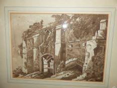 19th.C. ENGLISH SCHOOL ABBEY RUINS SIGNED INDISTINCTLY, WASH DRAWING. 33 x 46.5cms.