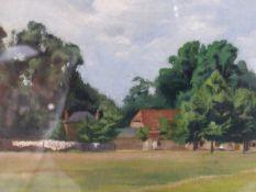 JOHN ALDRIDGE ( 1905-1983 ) A SUFFOLK VIEW, OIL ON BOARD. 28 x 40cms AND THE MILL WHEEL BY H. GARTON