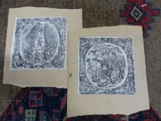 FOUR EARLY OLD MASTER PRINTS OF MILITARY SUBJECTS LAID ON CARD. 14 x 13.5cms.