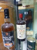 WHISKEY, ONE BENEAGLES CONTAINED IN EAGLE DECANTER, ONE HIGHLAND PARK AND ONE CRAWFORDS.