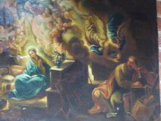ITALIAN SCHOOL AFTER THE OLD MASTERS A RELIGIOUS SCENE OF MARY AND OTHER FIGURES OIL ON CANVAS,