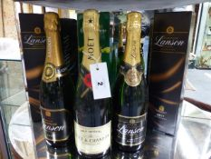 SIX BOTTLES OF CHAMPAGNE TO INCLUDE LANSON AND MOET.