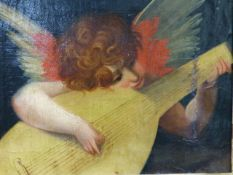 19th.C. ITALIAN SCHOOL. AN ANGELIC MUSICIAN, OIL ON BOARD IN A FLORENTINE CARVED GILT FRAME. 18 x