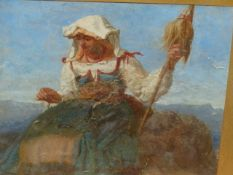 ATTRIBUTED TO F. LEE BRIDELL (1831-1863) AN ITALIAN COUNTRY MAID, OIL ON CANVAS LAID ON BOARD. 25