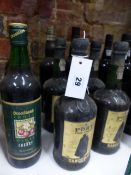 PORT, FOUR BOTTLES OF SANDEMAN FINE TAWNY PORT TOGETHER WITH FIVE VARIOUS BOTTLES OF FORTIFIED