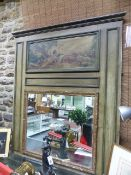 A LARGE ANTIQUE FRENCH TRUMEAU MIRROR WITH PAINTED FRAME AND OIL ON CANVAS SCENE. W.114 x H.139cms.