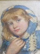 W.H. GADSBY (1844-1924) THE NEW SCARF INITIALLED WATERCOLOUR. 16 x 13.5cms.