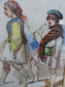 ATTRIBUTED TO WILLIAM LEE (1810-1865) FIGURE STUDIES, WATERCOLOUR. 19 x 14cms.