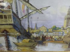 HOHENLEITER (EARLY 20th.C.) AN 18th.C. PORT SCENE SIGNED WATERCOLOUR. 21 x 29cms