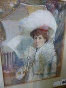 J. SANDERSON WELLS (1872-1955) PORTRAIT OF A LADY HOLDING A PARASOL, MRS J. SANDSERSON WELLS. SIGNED