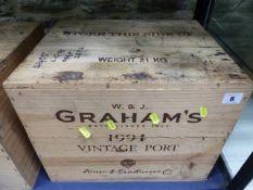 PORT, CASED TWELVE BOTTLES OF GRAHAM VINTAGE PORT. 1994.