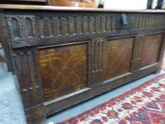 AN 18th.C.OAK AND INLAID PANEL FRONT COFFER. W140 x D54 x H.61cms.