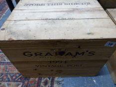 PORT, GRAHAMS VINTAGE 1994, TWELVE BOTTLES, CASED.